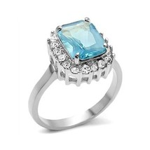 Stainless Steel Radiant Cut Aquamarine Simulated Cubic Zirconia Ring - SIZE 7, 8 image 1