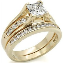 Gold Tone Princess Cut One Carat CZ Engagement & Wedding Rings - SIZES 5 - 10 image 2