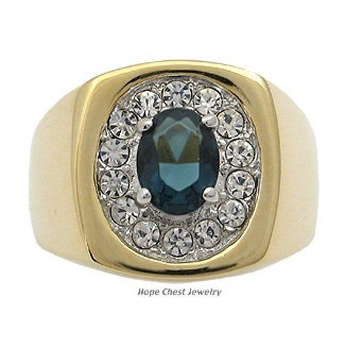 Two Tone Oval Montana Blue Cubic Zirconia Men's Ring - SIZE 10, 12 OR OTHER SIZE
