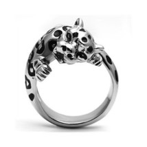 Big Stainless Steel Crystal Panther Leopard Cat Animal Ring - SIZE 10 image 1