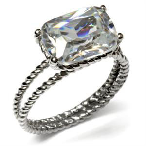Never Fade Round Corner Radiant Cut Stainless Steel CZ Engagement Ring -SIZE 8,9
