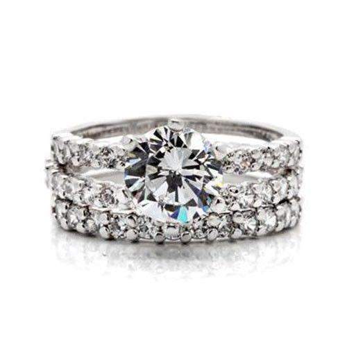 CZ WEDDING SET - Solitaire Engagement Ring & Pave CZ Eternity Band -SIZE 7 - 10