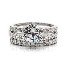CZ WEDDING SET - Solitaire Engagement Ring & Pave CZ Eternity Band -SIZE 7 - 10 image 1
