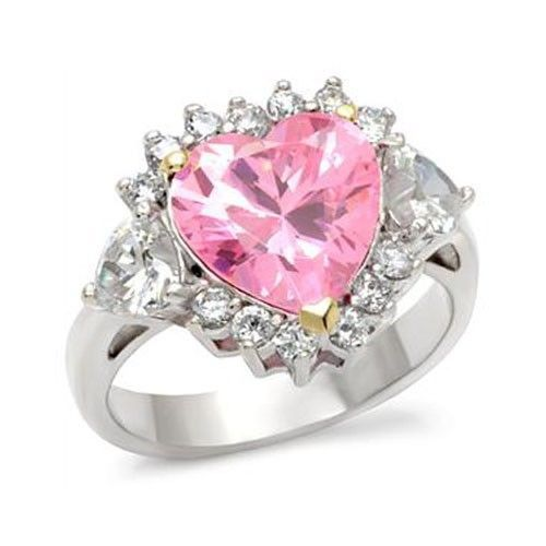 Sterling Silver 2 Tone Heart Shape Pink Cubic Zirconia Ring - SIZE 6 (LAST ONE)