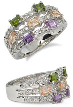 CZ RIGHT HAND RING - multicolor SIZE 5 last 1 SOLD OUT image 2