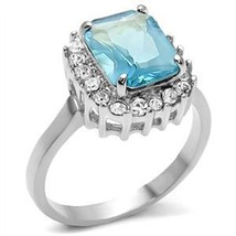 Stainless Steel Radiant Cut Aquamarine Simulated Cubic Zirconia Ring - SIZE 7, 8 image 2