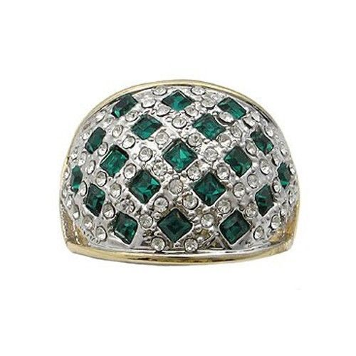 Two Tone Weaving Design Green Cubic Zirconia Ring - SIZE 5, 9 (LAST ONES)