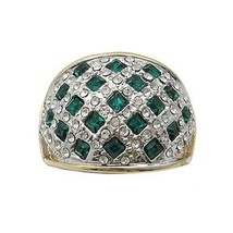 Two Tone Weaving Design Green Cubic Zirconia Ring - SIZE 5, 9 (LAST ONES) image 1