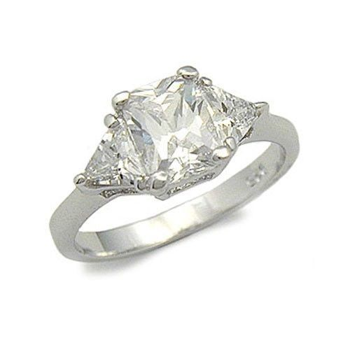 STERLING SILVER Three Stone Cubic Zirconia Engagement Ring - SIZE 4, 5, 9
