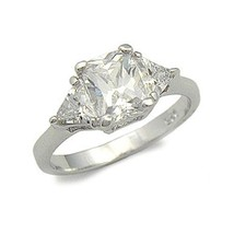 STERLING SILVER Three Stone Cubic Zirconia Engagement Ring - SIZE 4, 5, 9 image 1