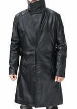 Ryan Gosling Blade Runner Officer K Fur Collar Black Leather Belted Trench Coat image 1
