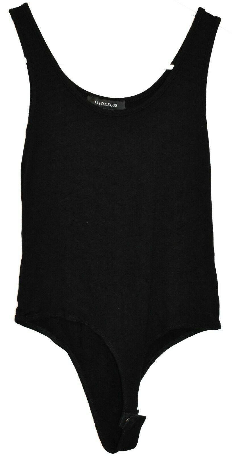 Olivaceous Women's Black Ribbed Knit Tank Top Bodysuit Size S