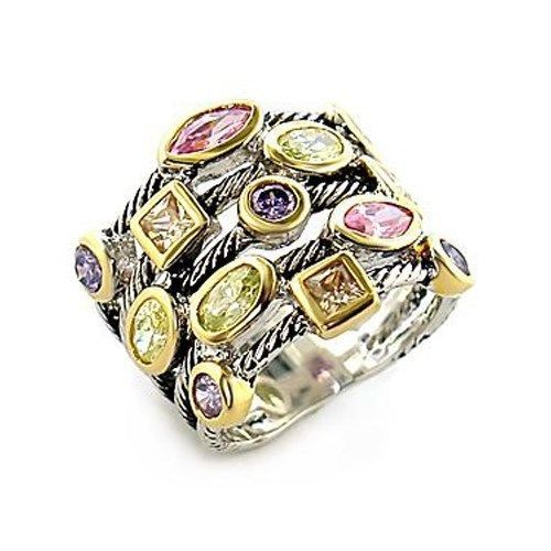 Very Pretty Multicolor Bezel Setting Cubic Zirconia Ring - SIZE 7 (LAST ONE)