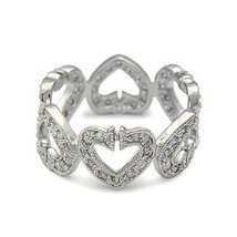 Sterling Silver Heart Shape Link Style Cubic Zirconia Ring - SIZE 6 (LAS... - $26.54