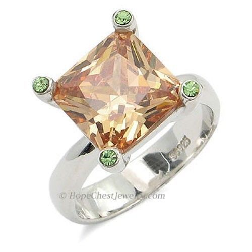 Sterling Silver Princess Cut Champagne Cubic Zirconia Ring - SIZE 7 (LAST ONE)
