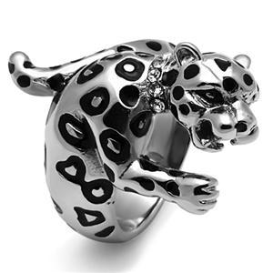 Big Stainless Steel Crystal Panther Leopard Cat Animal Ring - SIZE 10 image 2