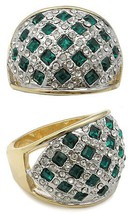 Two Tone Weaving Design Green Cubic Zirconia Ring - SIZE 5, 9 (LAST ONES) image 2