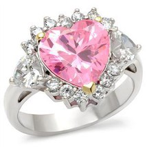 Sterling Silver 2 Tone Heart Shape Pink Cubic Zirconia Ring - SIZE 6 (LAST ONE) image 2