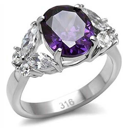 Stainless Steel 4 Prong Oval Cut Amethyst Cubic Zirconia Ring - SIZE 5,7, 8, 9