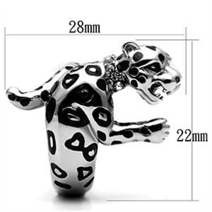 Big Stainless Steel Crystal Panther Leopard Cat Animal Ring - SIZE 10 image 3