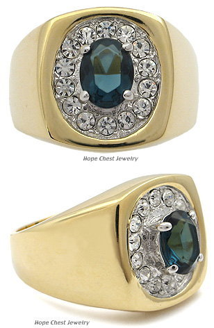 Two Tone Oval Montana Blue Cubic Zirconia Men's Ring - SIZE 10, 12 OR OTHER SIZE image 2
