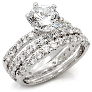 CZ WEDDING SET - Solitaire Engagement Ring & Pave CZ Eternity Band -SIZE 7 - 10 image 2