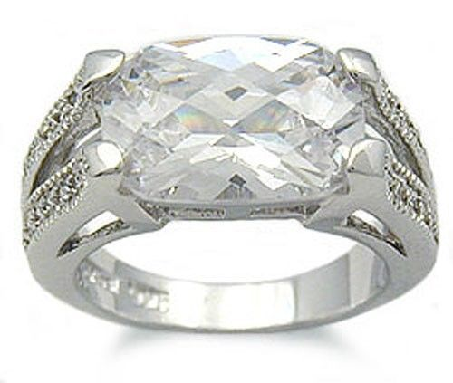 Sterling Silver 4 Carat East & West Cushion Cut CZ Ring SIZE 5,6,8,9 - CLEARANCE