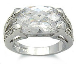 Sterling Silver 4 Carat East & West Cushion Cut CZ Ring SIZE 5,6,8,9 - CLEARANCE image 1