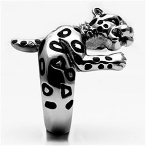 Big Stainless Steel Crystal Panther Leopard Cat Animal Ring - SIZE 10 image 4
