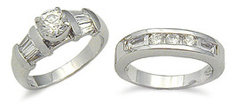 Sterling Silver Brilliant & Baguette Cubic Zirconia Wedding Set - SIZE 5- 10 image 4