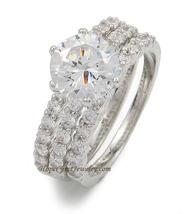 CZ WEDDING SET - Solitaire Engagement Ring & Pave CZ Eternity Band -SIZE 7 - 10 image 3