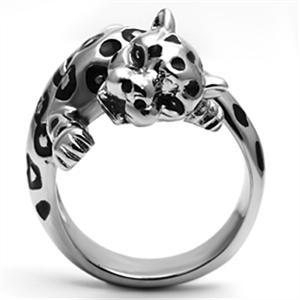 Big Stainless Steel Crystal Panther Leopard Cat Animal Ring - SIZE 10 image 5