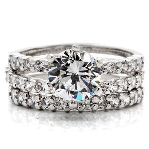 CZ WEDDING SET - Solitaire Engagement Ring & Pave CZ Eternity Band -SIZE 7 - 10 image 5
