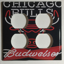 Chicago Bulls Budweiser Beer Logo Switch Outlet wall Cover Plate Home Decor image 2