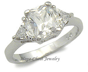 STERLING SILVER Three Stone Cubic Zirconia Engagement Ring - SIZE 4, 5, 9 image 2