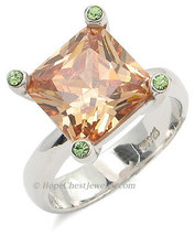 Sterling Silver Princess Cut Champagne Cubic Zirconia Ring - SIZE 7 (LAST ONE) image 2