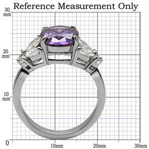 Stainless Steel 4 Prong Oval Cut Amethyst Cubic Zirconia Ring - SIZE 5,7, 8, 9 image 2