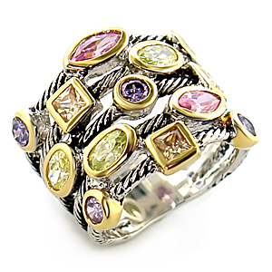 Very Pretty Multicolor Bezel Setting Cubic Zirconia Ring - SIZE 7 (LAST ONE) image 2