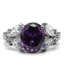 Stainless Steel 4 Prong Oval Cut Amethyst Cubic Zirconia Ring - SIZE 5,7, 8, 9 image 4