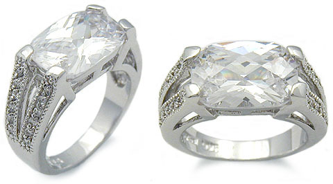 Sterling Silver 4 Carat East & West Cushion Cut CZ Ring SIZE 5,6,8,9 - CLEARANCE image 2