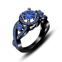 Black Rhodium Finish Pure 925 Silver Blue Sapphire Infinity Style Wedding Ring - $78.99