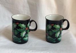 Dunoon Mug Holly by Caroline Bessey Scotland  Black Handle EUC - $17.10
