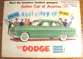 1953 Dodge Sales Brochure Coronet Meadowbrook Original VG 53 - $22.49