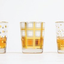 8 Oak Lane EC014PLD Plaid Old Fashioned Glass, 8 oz, Gold