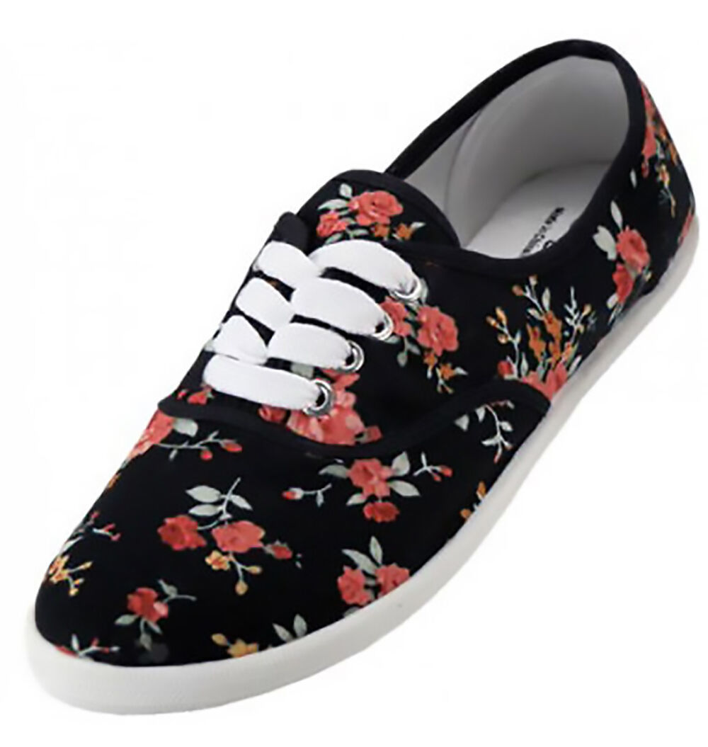 Primary image for Womens Black Floral Print Canvas Sneakers Lace Up Plimsoll Tennis Shoes