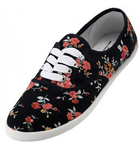 Womens Black Floral Print Canvas Sneakers Lace Up Plimsoll Tennis Shoes - €13,14 EUR