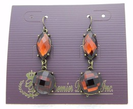 Premier Designs Bejeweled Topaz Rhinestone Gold Tone Dangle Earrings 30558 - $12.47