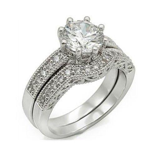 8 Prong Antique Inspired Cubic Zirconia Engagement Wedding Ring Set -SIZE 5 - 10