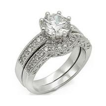 8 Prong Antique Inspired Cubic Zirconia Engagement Wedding Ring Set -SIZE 5 - 10 image 1