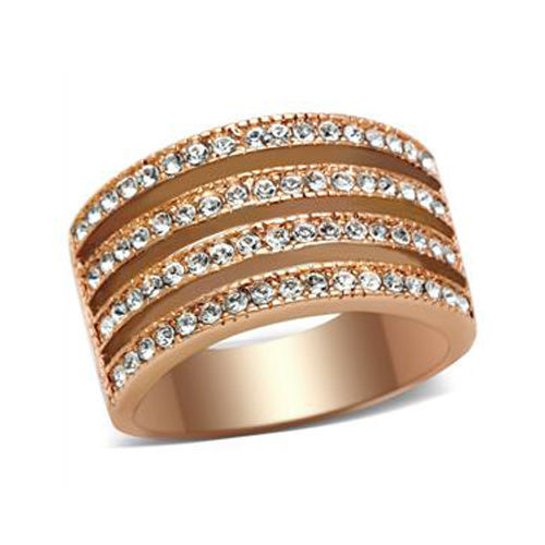 GORGEOUS 4 Rows of Crystal Fashion Band Ring - SIZE 5